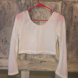 White knit crop sweater top